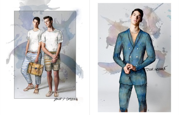 Benjamin-Edward-Bon-Bon-Magazine-Summer-Blues-Regen-Chen-Dior-Homme-D-and-G-Dolce-Gabbana-Models-Menswear-Illustration