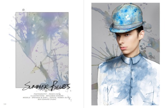 Benjamin-Edward-Bon-Bon-Magazine-Summer-Blues-Regen-Chen-John-Galliano-Sam-Blake-Spot6-Models-Menswear-Illustration
