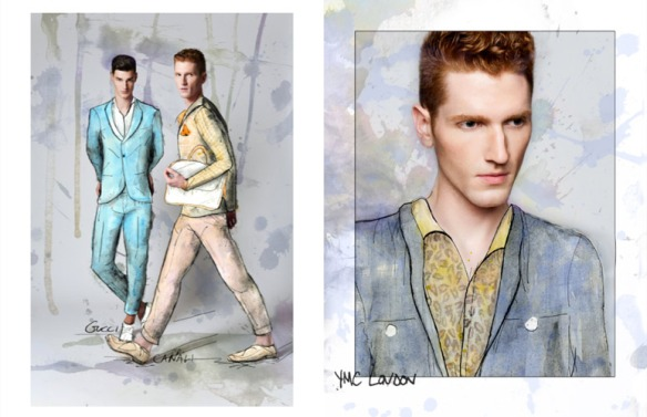 Benjamin-Edward-Bon-Bon-Magazine-Summer-Blues-Regen-Chen-YMC-London-Gucci-Canali-Models-Menswear-Illustration