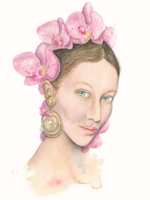 Benjamin-Edward-Alana-Zimmer-Dolce-and-Gabbana-SS-Spring-Summer-2014-Earring-Pink-Orchid-Illustration